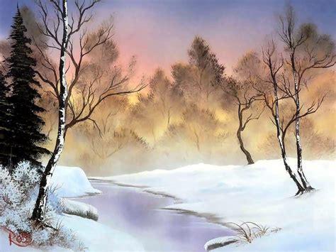 bob ross painting landscape winter backgrounds wallpaper cave