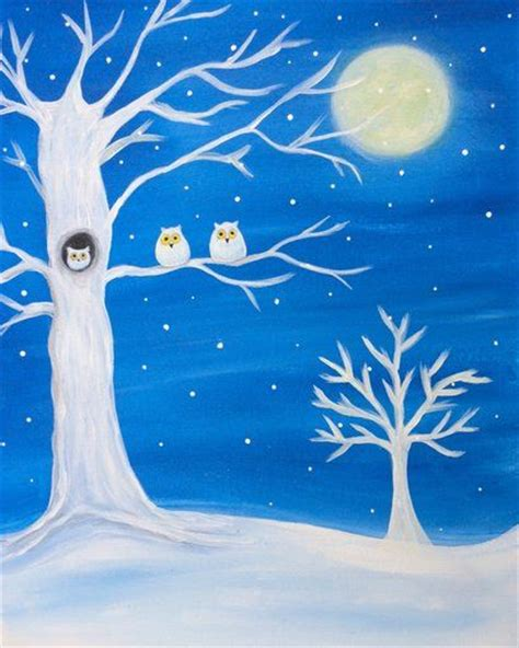 paint nite tree owls in a tree paint nite paintings trees