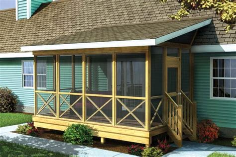 shed roof porch project plan 90012 screened porch w shed roof