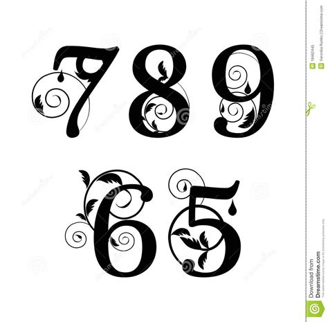 floral font numbers from 5till 9 stock vector image