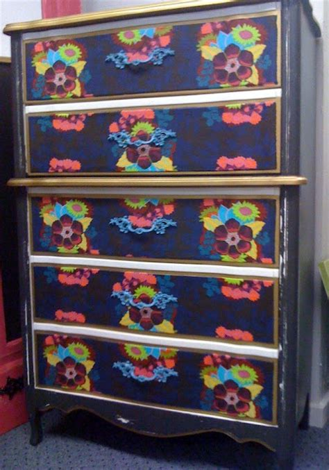 fabric decoupage dresser recycled furniture diy dresser redo with fabric