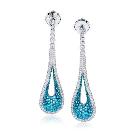 jewelry earrings 18k white gold teardrop dangle earrings with brown
