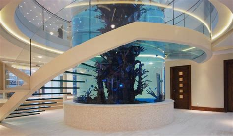 Amazing Staircase with Large Cylinder Aquarium by Diapo   Home, Building, Furniture and Interior