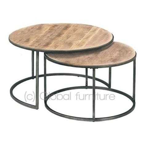 Salontafel Rond Hout Design by Nora Bijzettafel Salontafel Set Rond Hout Metaal Industrieel