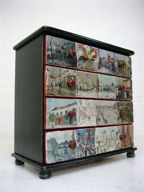 decoupage drawer fronts vintage retro painted black solid wooden chest of drawers