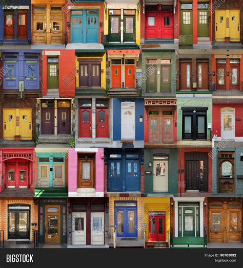 colorful doors collage colorful doors montreal image photo bigstock