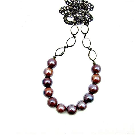 beaded chain necklace iridescent chocolate ceramic beaded chain necklace