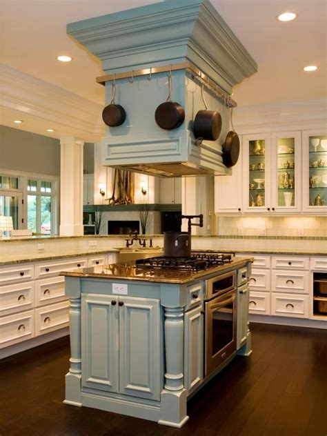kitchen island with pot rack vent doubles as pot rack in transitional kitchen hgtv