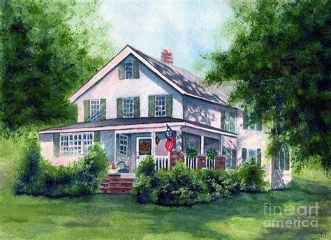 country farm house white country farmhouse painting by