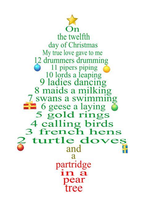 12 days of tree 12 day of lyrics as tree decorations