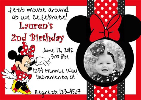 how to make minnie mouse invitation cards custom minnie mouse birthday invitation photo card 5x7 or