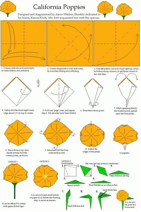 origami flower pdf california poppy origami diagram origami flowers