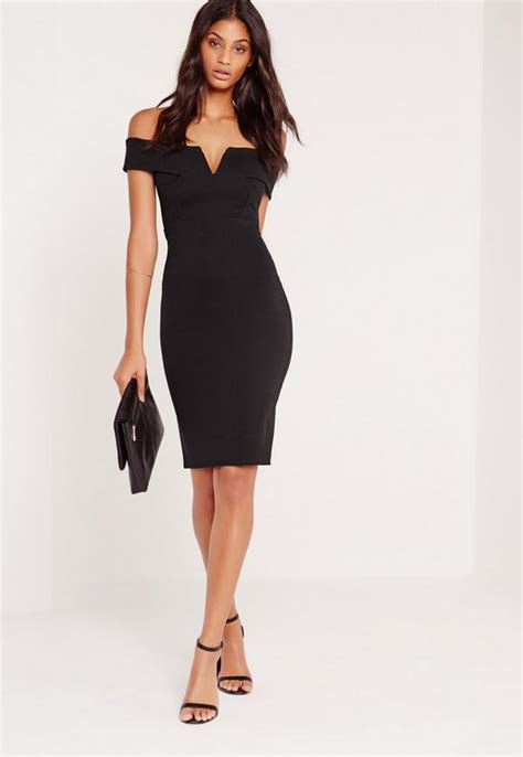 black dress v front bardot midi dress black missguided
