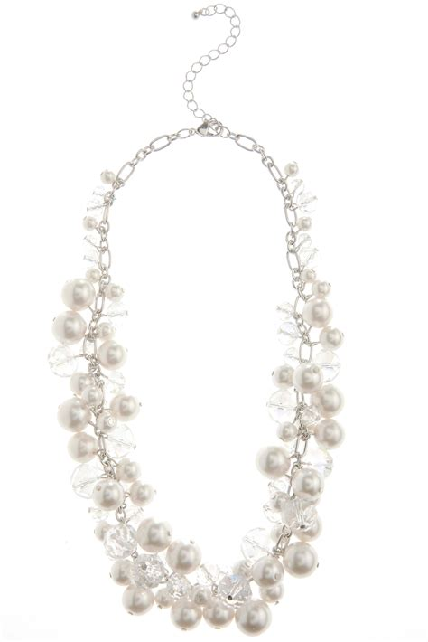 bead cluster necklace shaky cluster pearl and bead necklace necklaces cato fashions