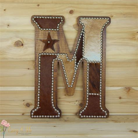 cowhide home decor cowhide wall letter m western home decor wall hanging