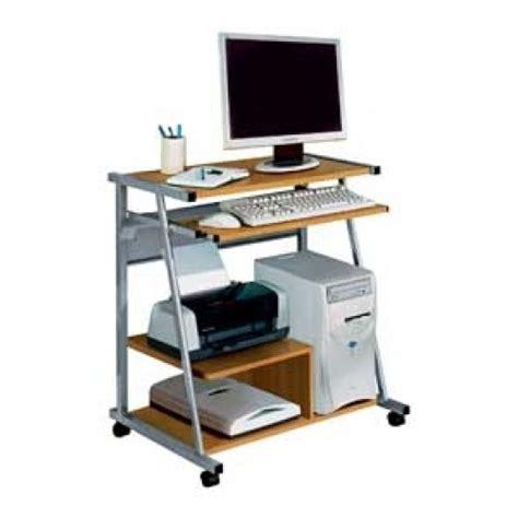 computer desk trolley metal and beech effect computer desk trolley with shelf