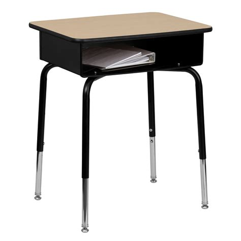 flash furniture student desk with open front metal book