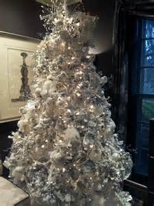 decorated flocked trees fresh flocked tree decorated in white sliver
