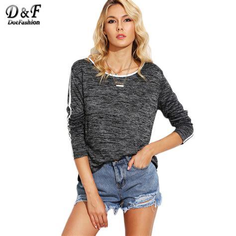 knit tops and tees dotfashion grey marled knit contrast binding tops