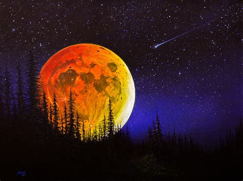 bob ross painting human s harvest moon painting by chris