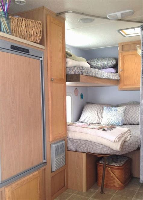 travel bunk beds rv bunks bedroom remodel travel trailer cer turned