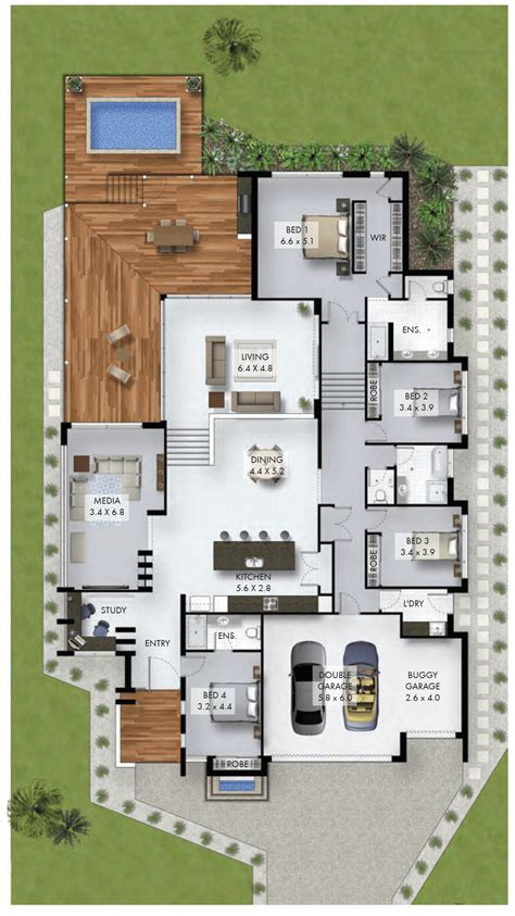 garage house floor plans 4 bedroom home with study nook and car garage