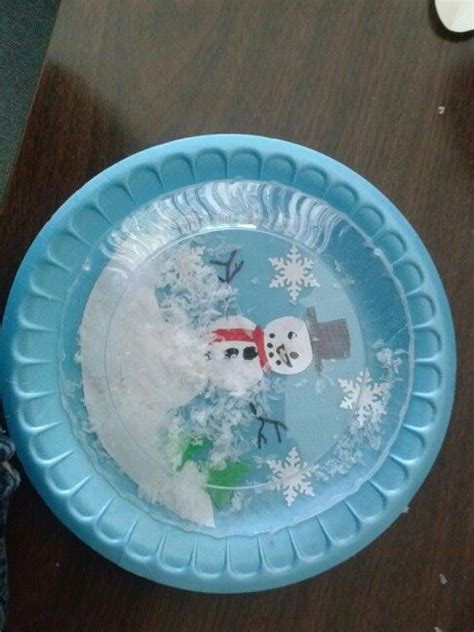 paper snow globe craft paper plate snowglobe winter