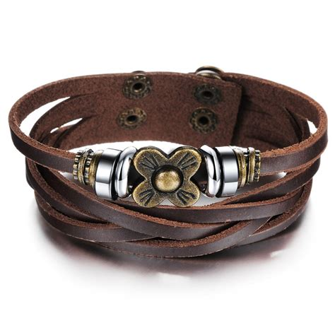 leather for jewelry new design charm leather multilayer bracelet jewelry cheap