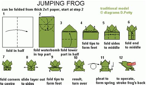 origami frog template 50 jumping frog
