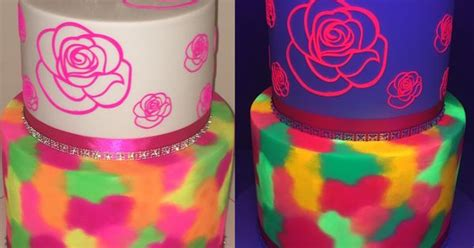 glow in the paint durban two tier neon cake normal light and black