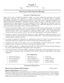 fabrication amp development manager resume