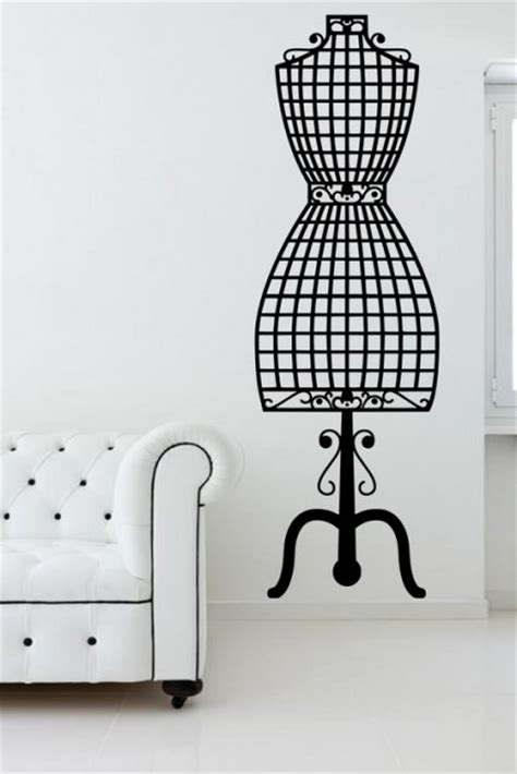 fashion wall stickers dressmaker mannequin vintage fashion wall sticker decal
