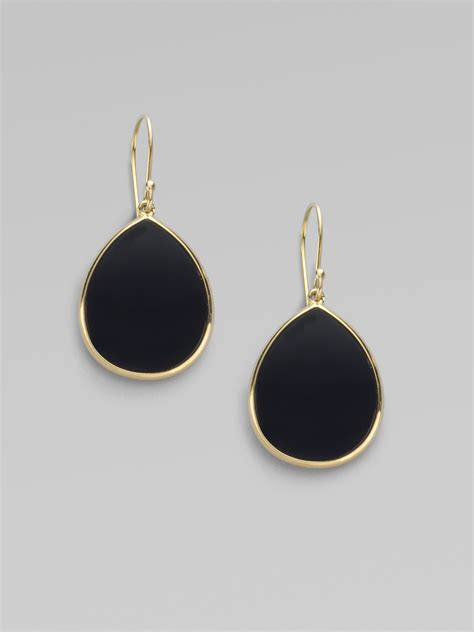 gold black earrings ippolita black onyx 18k gold teardrop earrings in black