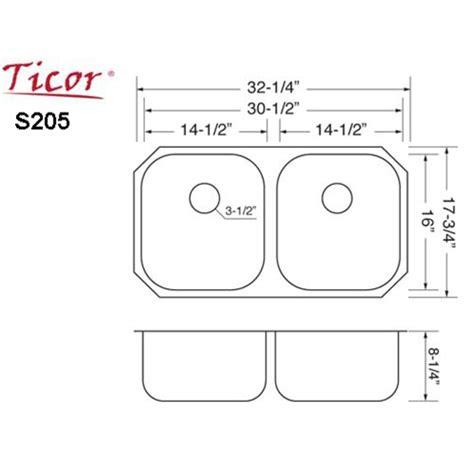 kitchen sink sizes ticor s205 undermount 16 stainless steel kitchen