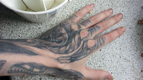 my h r giger styled tattoo by darkki nzti on deviantart
