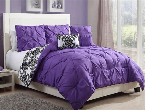 purple and black comforter set black white purple reversible pintuck damask
