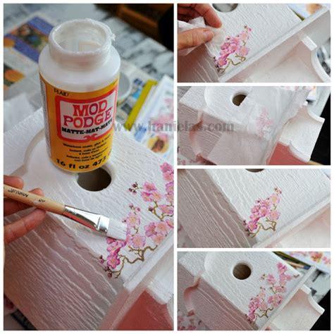 decoupage tutorial napkin haniela s cherry tree birdhouse napkin decoupage