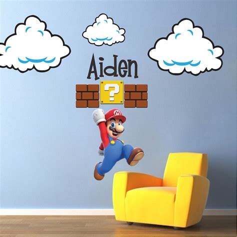 mario stickers for walls mario bros clouds wall decal bedroom stickers