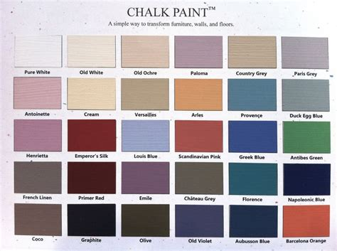 chalk paint colors howard color chart sloan chalk paint for the home