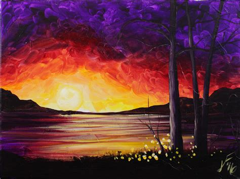 acrylic painting step by step tutorial summer sunset at the lake step by step acrylic painting on