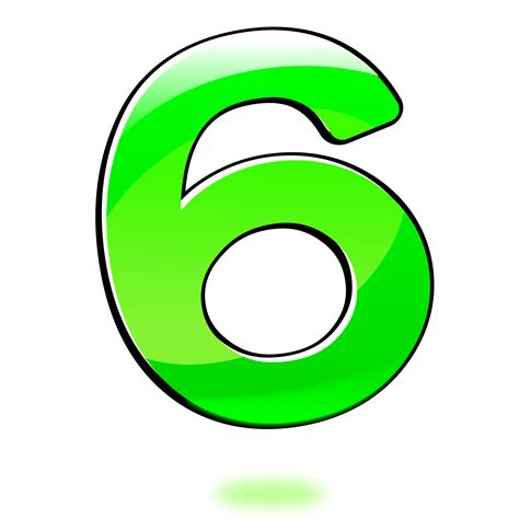 number six clipart glossy number six