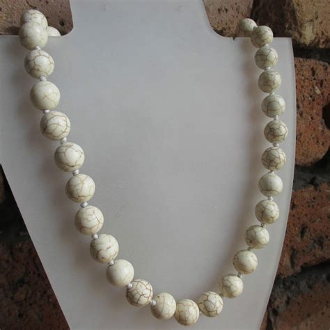 white bead necklace uk white howlite gemstone bead necklace knotted