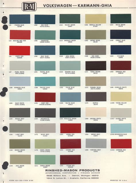 paint colors for vw beetle image gallery 1964 vw colors