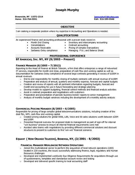 writing finance resume