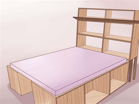 built in bed frame 3 ways to build a wooden bed frame wikihow