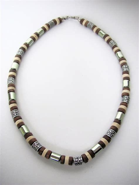 mens beaded jewelry tri tone brown surfer beaded necklace s jewelry