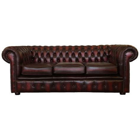 chesterfield 3 seater sofa chesterfield oxblood real leather 3 seater sofa bed