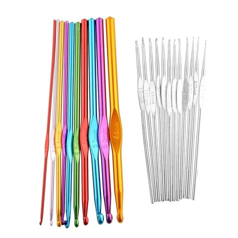 tunisian knitting needles multicolor 1set 22pcs afghan tunisian aluminum metal