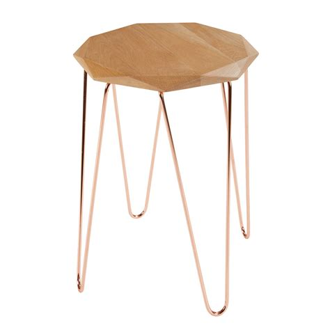 origami side table origami side table in oak and copper coloured metal
