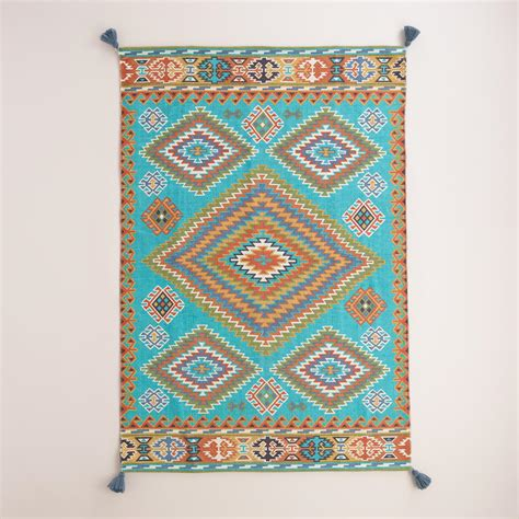 outdoor rugs world market blue odina kilim flatweave reversible indoor outdoor rug